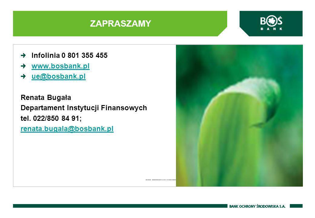 Infolinia 0 801 355 455 www.bosbank.pl ue@bosbank.pl Renata Bugała Departament Instytucji Finansowych tel. 022/850 84 91; renata.bugala@bosbank.pl ZAP