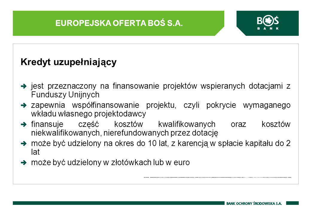 Kredyt inwestycyjny pod Dotację UE możliwość rozpoczęcia inwestycji bezpośrednio po złożeniu wniosku o dofinansowanie, a przed uzyskaniem informacji o przyznaniu Dotacji; możliwość przekształcenia części kredytu inwestycyjnego pod Dotacje UE na atrakcyjnie oprocentowany kredyt pomostowy, w przypadku przyznania dofinansowania i podpisania Umowy o Dotację; możliwość zwolnienia z części zabezpieczeń kredytu, po przedłożeniu Umowy o Dotację; możliwa karencja w spłacie kapitału.