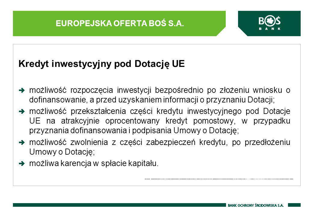 Kredyt inwestycyjny pod Dotację UE możliwość rozpoczęcia inwestycji bezpośrednio po złożeniu wniosku o dofinansowanie, a przed uzyskaniem informacji o