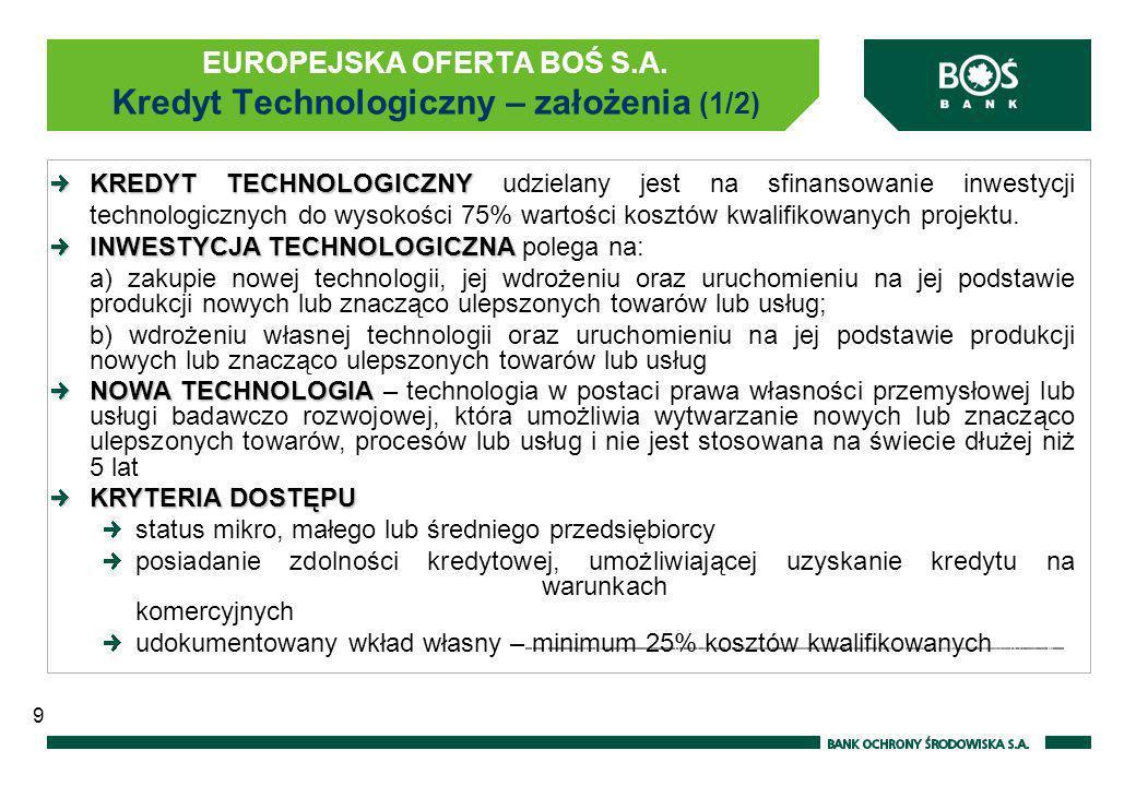 KREDYT TECHNOLOGICZNY KREDYT TECHNOLOGICZNY udzielany jest na sfinansowanie inwestycji technologicznych do wysokości 75% wartości kosztów kwalifikowan