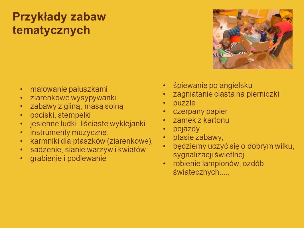Przykłady zabaw tematycznych malowanie paluszkami ziarenkowe wysypywanki zabawy z gliną, masą solną odciski, stempelki jesienne ludki, liściaste wykle