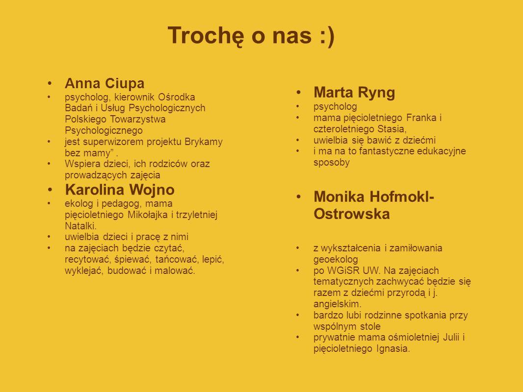 Trochę o nas :) Anna Ciupa psycholog, kierownik Ośrodka Badań i Usług Psychologicznych Polskiego Towarzystwa Psychologicznego jest superwizorem projek