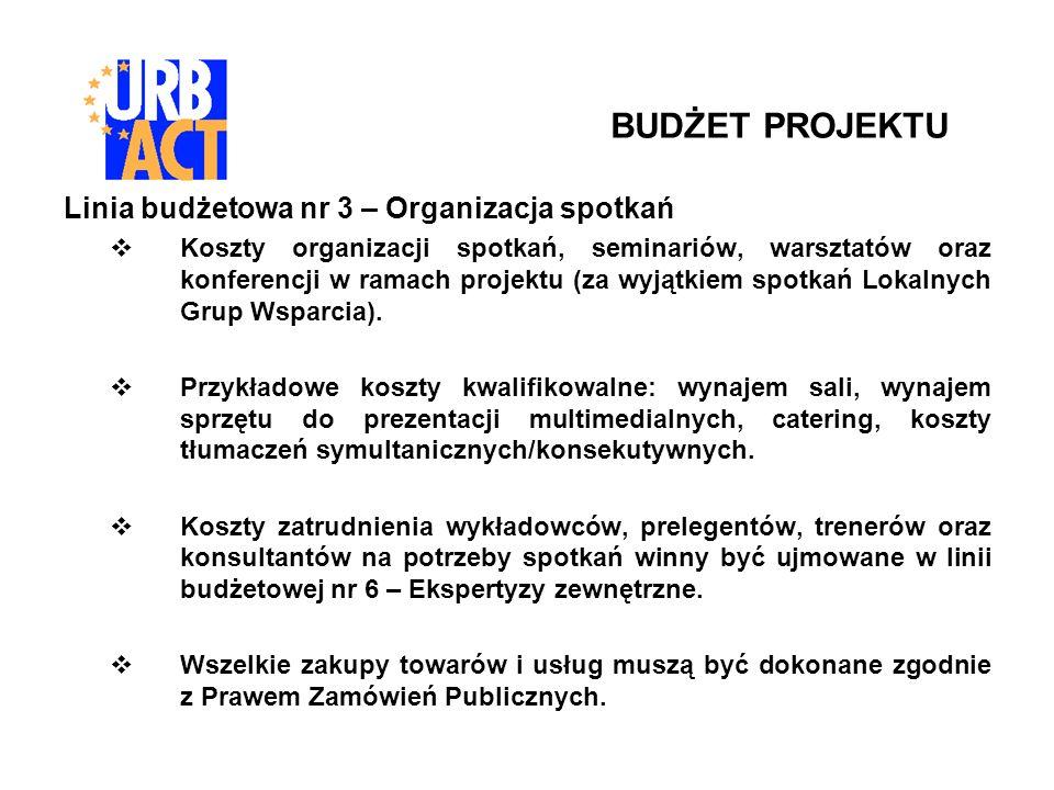 Linia budżetowa nr 3 – Organizacja spotkań Koszty organizacji spotkań, seminariów, warsztatów oraz konferencji w ramach projektu (za wyjątkiem spotkań