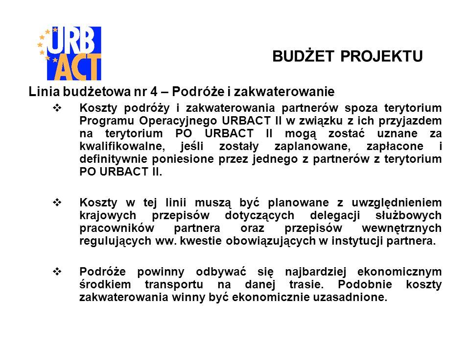 Linia budżetowa nr 4 – Podróże i zakwaterowanie Koszty podróży i zakwaterowania partnerów spoza terytorium Programu Operacyjnego URBACT II w związku z