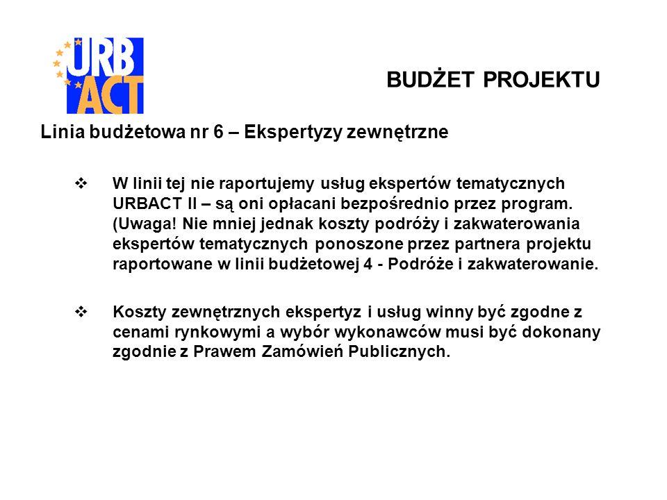 Linia budżetowa nr 6 – Ekspertyzy zewnętrzne W linii tej nie raportujemy usług ekspertów tematycznych URBACT II – są oni opłacani bezpośrednio przez program.