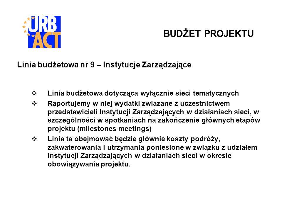 Linia budżetowa nr 9 – Instytucje Zarządzające Linia budżetowa dotycząca wyłącznie sieci tematycznych Raportujemy w niej wydatki związane z uczestnict
