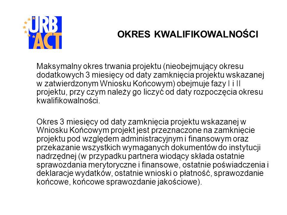 Maksymalny okres trwania projektu (nieobejmujący okresu dodatkowych 3 miesięcy od daty zamknięcia projektu wskazanej w zatwierdzonym Wniosku Końcowym)