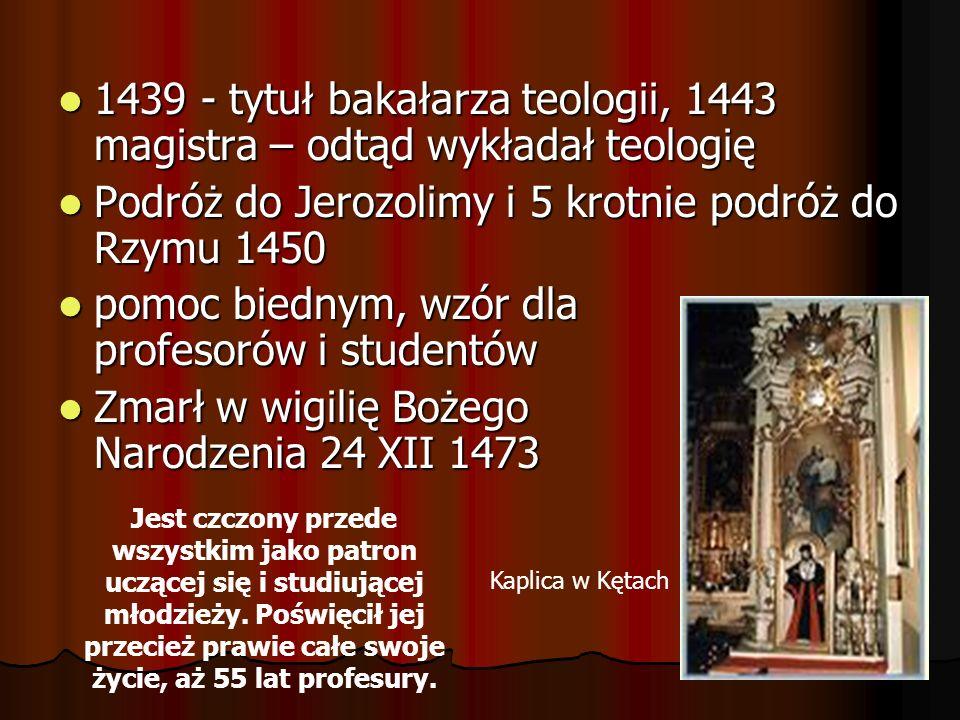 1439 - tytuł bakałarza teologii, 1443 magistra – odtąd wykładał teologię 1439 - tytuł bakałarza teologii, 1443 magistra – odtąd wykładał teologię Podr