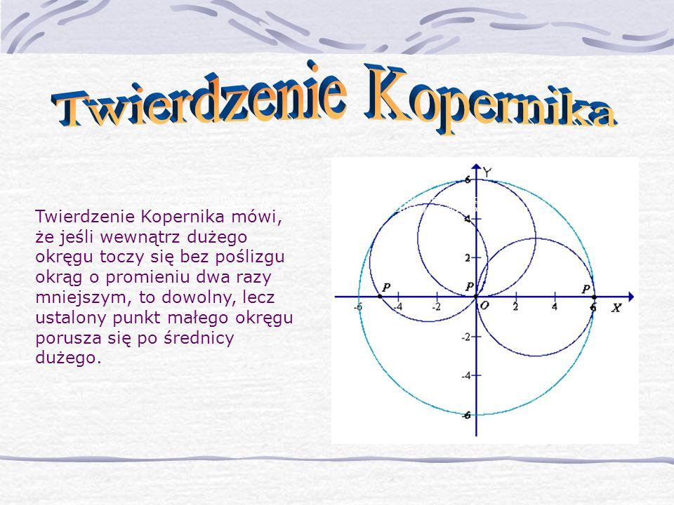 Twierdzenie Kopernika mówi, że jeśli wewnątrz dużego okręgu toczy się bez poślizgu okrąg o promieniu dwa razy mniejszym, to dowolny, lecz ustalony pun