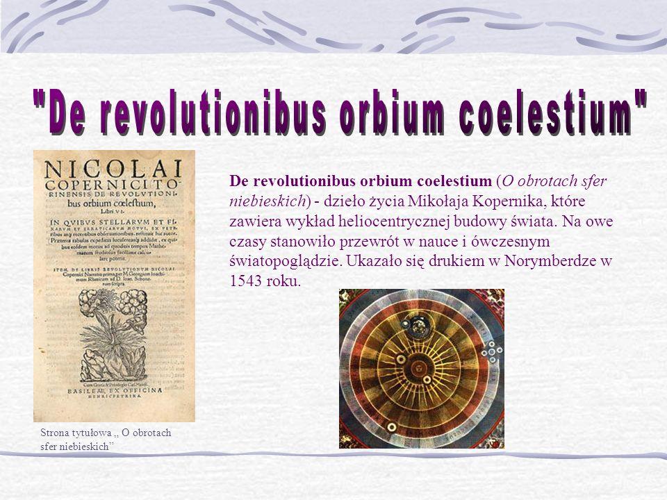 Strona tytułowa O obrotach sfer niebieskich De revolutionibus orbium coelestium (O obrotach sfer niebieskich) - dzieło życia Mikołaja Kopernika, które