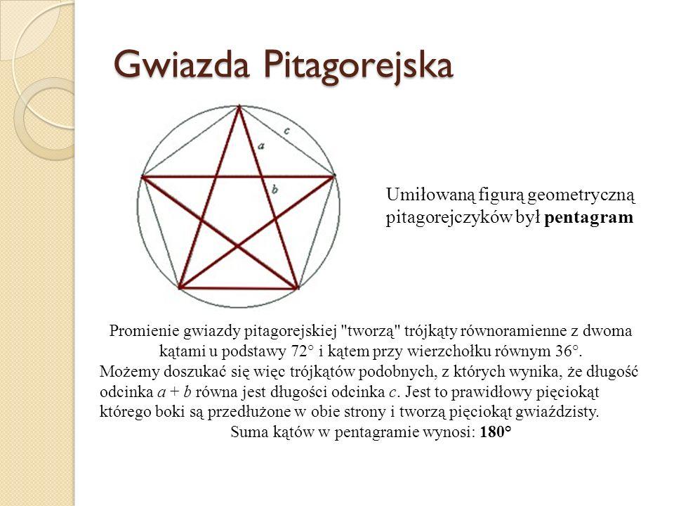 Gwiazda Pitagorejska Umiłowaną figurą geometryczną pitagorejczyków był pentagram Promienie gwiazdy pitagorejskiej