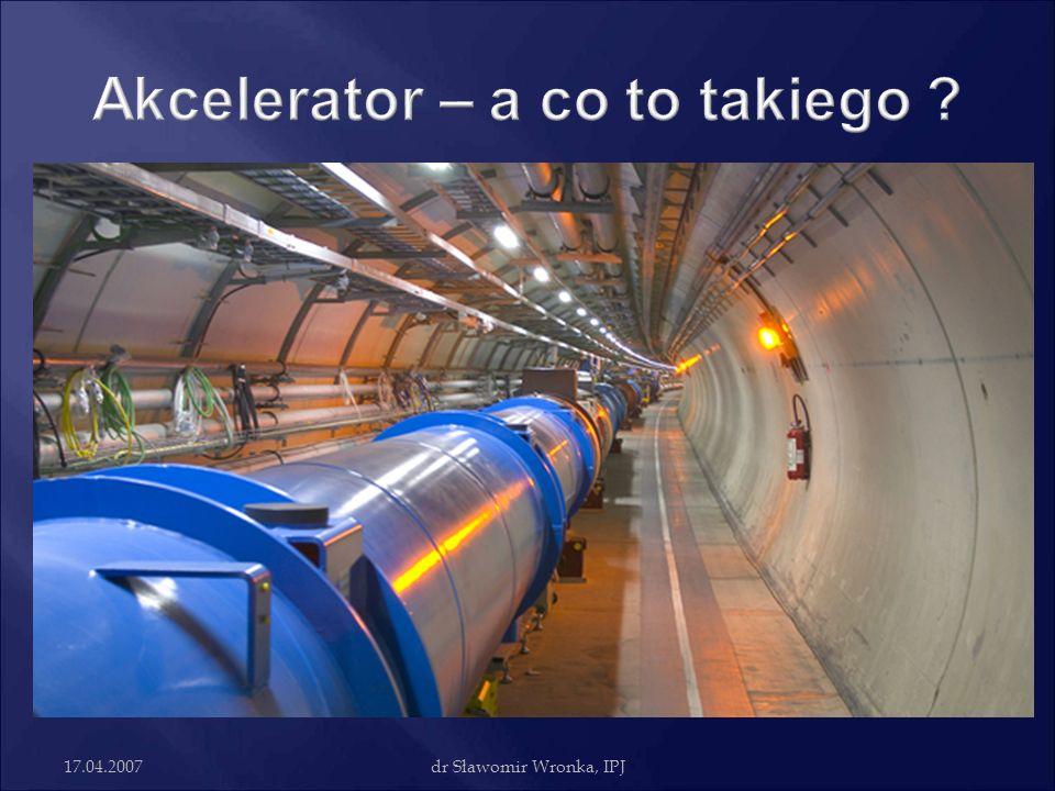 17.04.2007dr Sławomir Wronka, IPJ Cyklotron izochroniczny - akcelerator z azymutalną modulacją pola - cyklotron, skonstruowany tak by czas jednego obiegu rozpędzanych cząstek był stały (stąd nazwa izochroniczny) pomimo wzrostu masy cząstki wywołanej efektami relatywistycznymi, które występują przy rozpędzaniu cząstek do prędkości porównywalnych z prędkością światła.