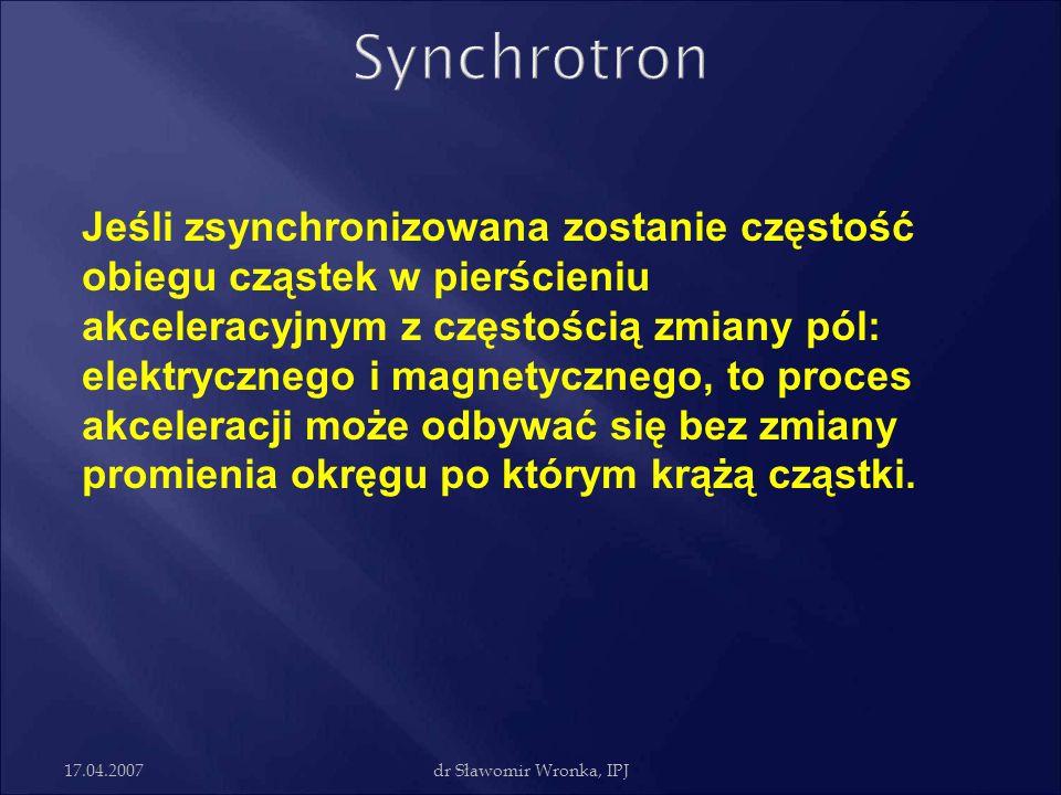 17.04.2007dr Sławomir Wronka, IPJ Jeśli zsynchronizowana zostanie częstość obiegu cząstek w pierścieniu akceleracyjnym z częstością zmiany pól: elektr