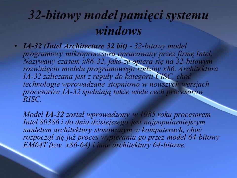 32-bitowy model pamięci systemu windows IA-32 (Intel Architecture 32 bit) - 32-bitowy model programowy mikroprocesora opracowany przez firmę Intel. Na