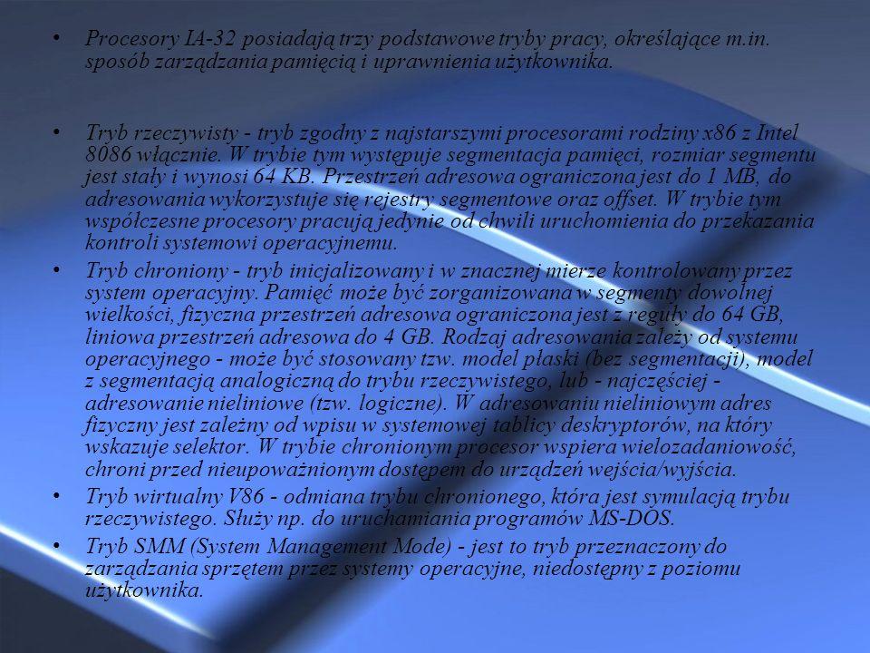 Procesory IA-32 posiadają trzy podstawowe tryby pracy, określające m.in. sposób zarządzania pamięcią i uprawnienia użytkownika. Tryb rzeczywisty - try