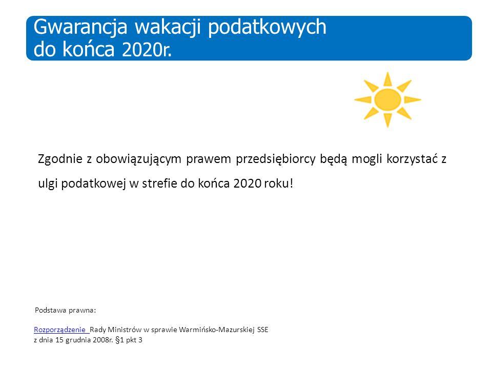 Zgodnie z obowiązującym prawem przedsiębiorcy będą mogli korzystać z ulgi podatkowej w strefie do końca 2020 roku! Podstawa prawna: Rozporządzenie Roz