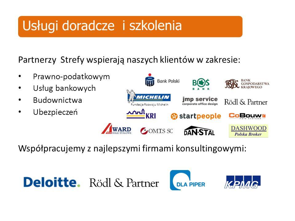 Partnerzy Strefy wspierają naszych klientów w zakresie: Prawno-podatkowym Usług bankowych Budownictwa Ubezpieczeń Współpracujemy z najlepszymi firmami