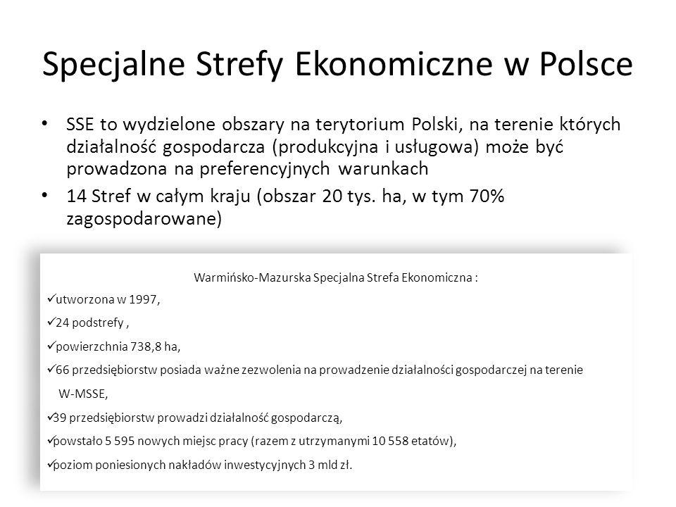 Specjalne Strefy Ekonomiczne w Polsce SSE to wydzielone obszary na terytorium Polski, na terenie których działalność gospodarcza (produkcyjna i usługo