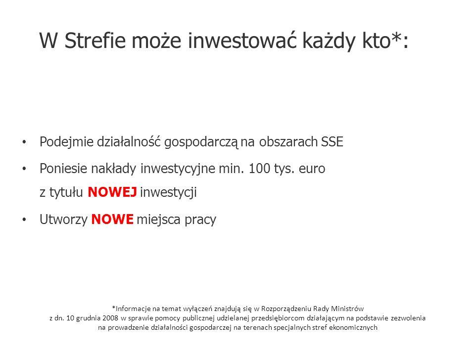 W Strefie może inwestować każdy kto*: Podejmie działalność gospodarczą na obszarach SSE Poniesie nakłady inwestycyjne min. 100 tys. euro z tytułu NOWE