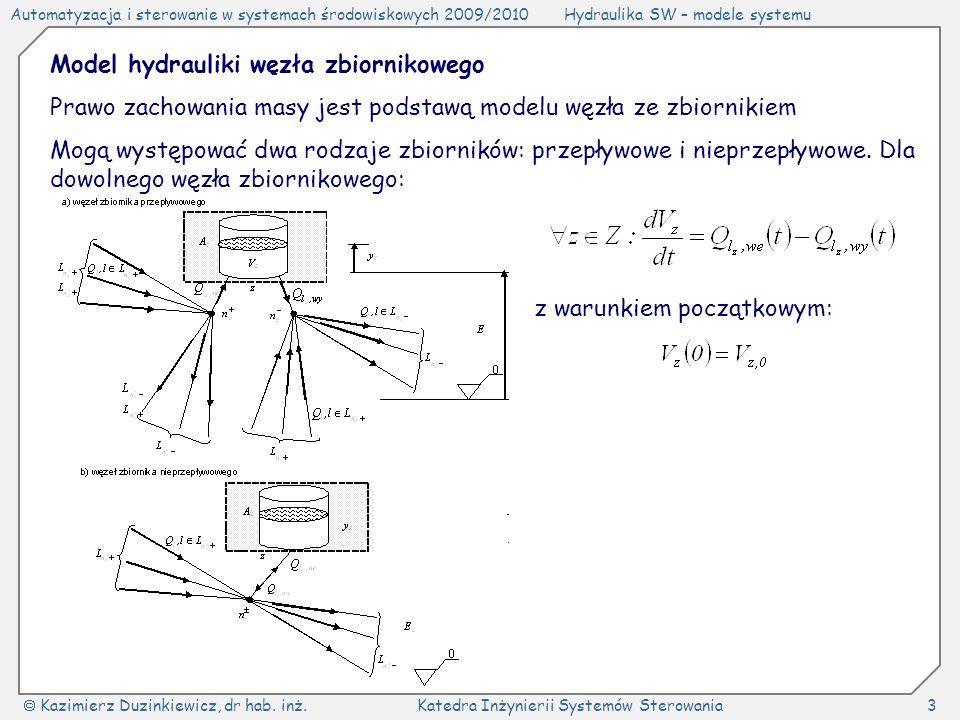 Automatyzacja i sterowanie w systemach środowiskowych 2009/2010Hydraulika SW – modele systemu Kazimierz Duzinkiewicz, dr hab. inż.Katedra Inżynierii S