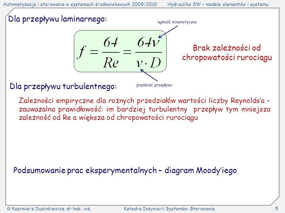 Automatyzacja i sterowanie w systemach środowiskowych 2009/2010Hydraulika SW – modele elementów i systemu Kazimierz Duzinkiewicz, dr hab. inż.Katedra