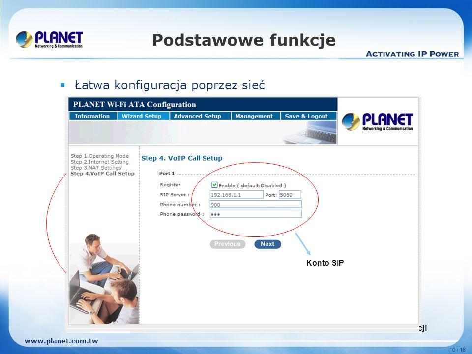 www.planet.com.tw 10 / 18 Podstawowe funkcje Łatwa konfiguracja poprzez sieć Kreator konfiguracji Metoda autoryzacji dla trybu bezprzewodowego Konfigu