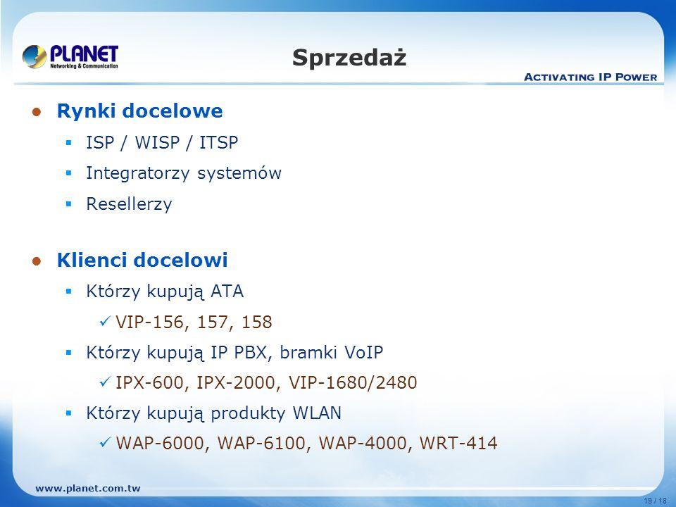 www.planet.com.tw 19 / 18 Rynki docelowe ISP / WISP / ITSP Integratorzy systemów Resellerzy Klienci docelowi Którzy kupują ATA VIP-156, 157, 158 Którz