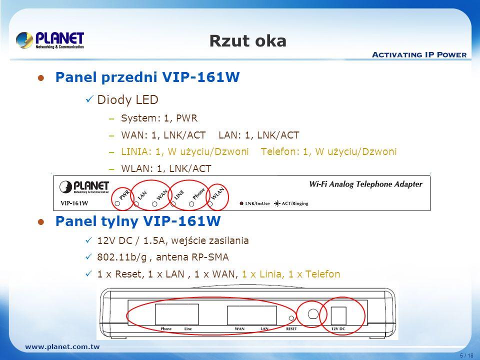 www.planet.com.tw 5 / 18 Rzut oka Panel przedni VIP-161W Diody LED – System: 1, PWR – WAN: 1, LNK/ACT LAN: 1, LNK/ACT – LINIA: 1, W użyciu/Dzwoni Tele