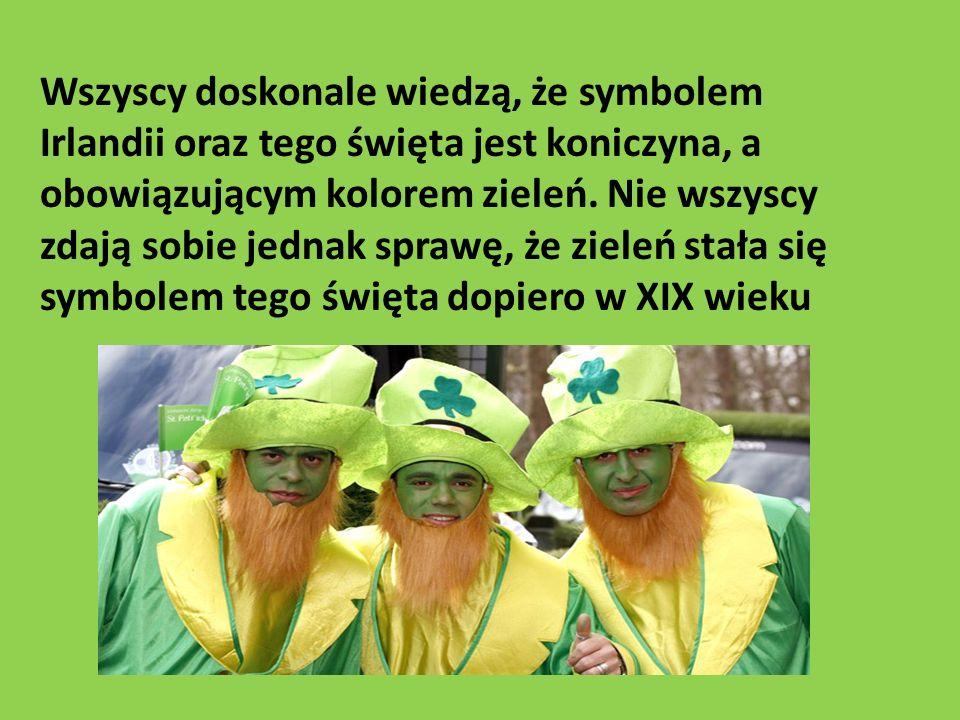 Wszyscy doskonale wiedzą, że symbolem Irlandii oraz tego święta jest koniczyna, a obowiązującym kolorem zieleń. Nie wszyscy zdają sobie jednak sprawę,