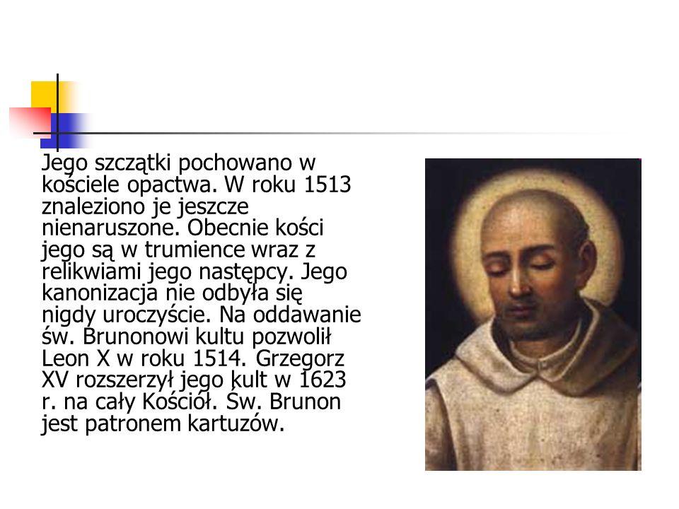 Jego szczątki pochowano w kościele opactwa.W roku 1513 znaleziono je jeszcze nienaruszone.
