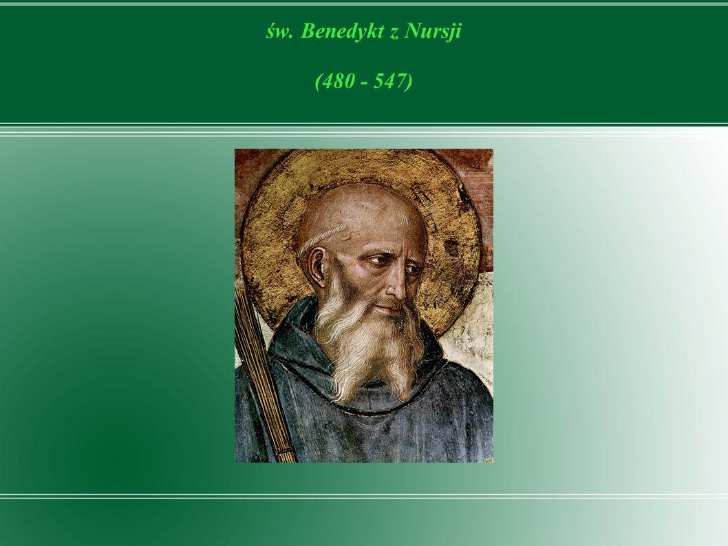 Na zgliszczach cesarstwa rzymskiego, zalanego przez hordy barbarzyńców, ukazał się święty Benedykt, ojciec życia zakonnego na Zachodzie, który miał wywrzeć znaczący wpływ na kształtowanie się nowego porządku w Europie.