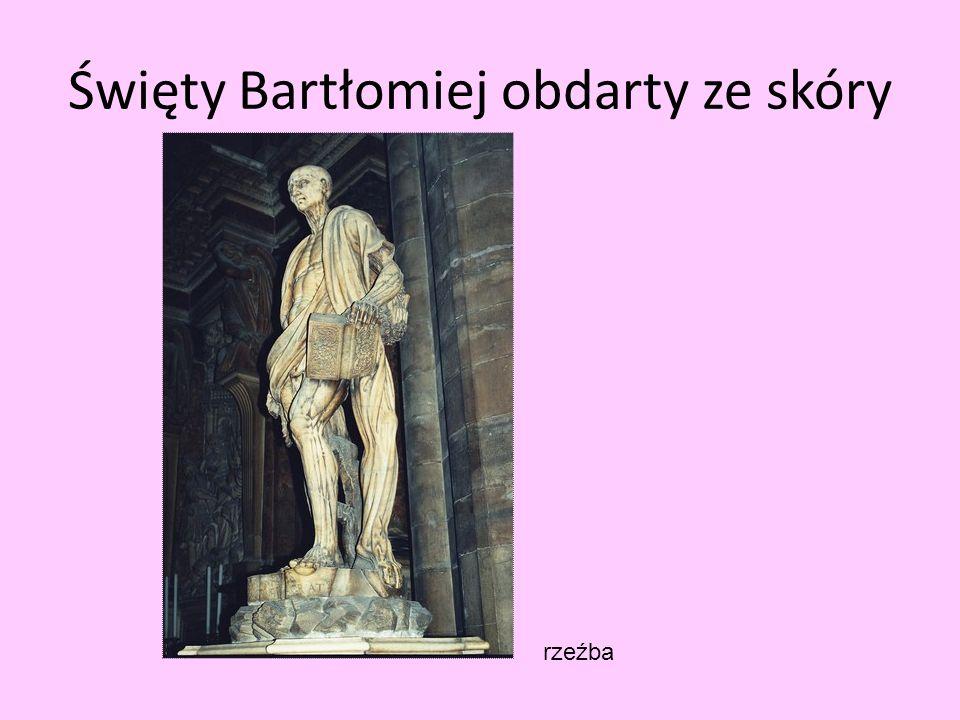 Święty Bartłomiej obdarty ze skóry rzeźba