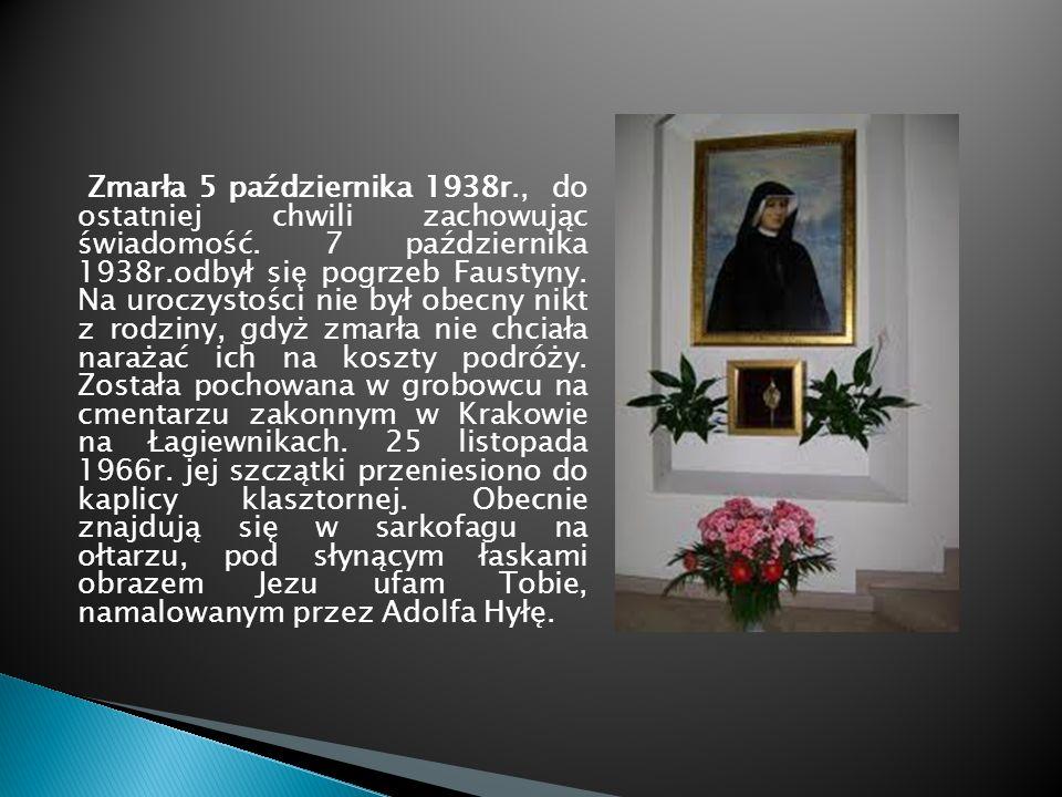 Zmarła 5 października 1938r., do ostatniej chwili zachowując świadomość. 7 października 1938r.odbył się pogrzeb Faustyny. Na uroczystości nie był obec