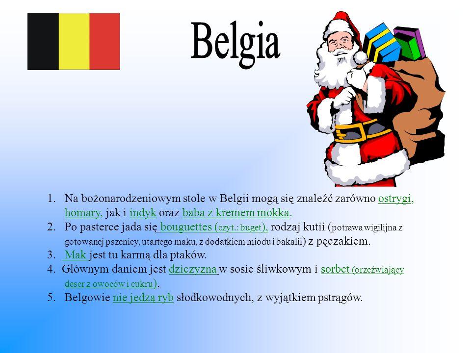 1.Na bożonarodzeniowym stole w Belgii mogą się znaleźć zarówno ostrygi, homary, jak i indyk oraz baba z kremem mokka. 2.Po pasterce jada się bouguette