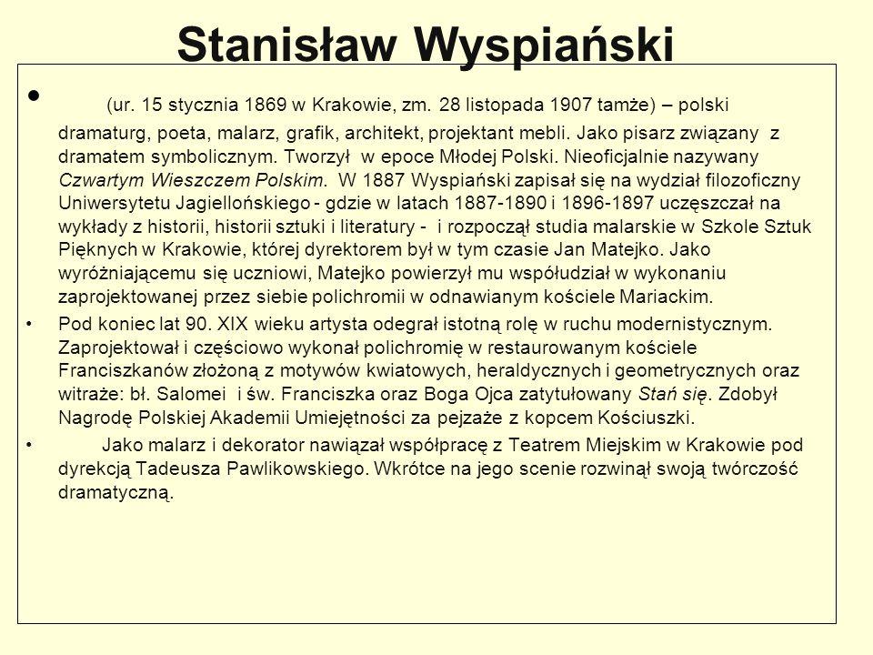 Stanisław Wyspiański (ur. 15 stycznia 1869 w Krakowie, zm. 28 listopada 1907 tamże) – polski dramaturg, poeta, malarz, grafik, architekt, projektant m