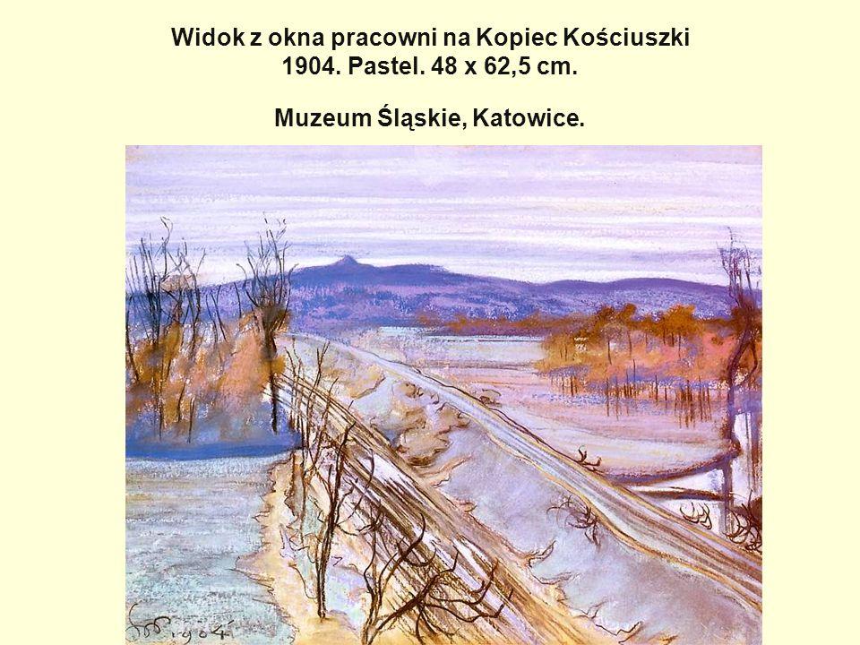 Widok z okna pracowni na Kopiec Kościuszki 1904. Pastel. 48 x 62,5 cm. Muzeum Śląskie, Katowice.