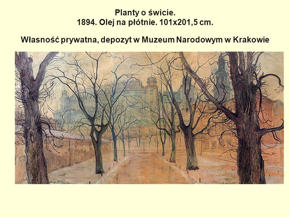Planty o świcie. 1894. Olej na płótnie. 101x201,5 cm. Własność prywatna, depozyt w Muzeum Narodowym w Krakowie