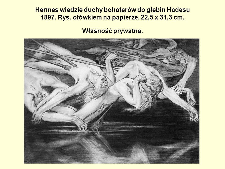 Hermes wiedzie duchy bohaterów do głębin Hadesu 1897. Rys. ołówkiem na papierze. 22,5 x 31,3 cm. Własność prywatna.