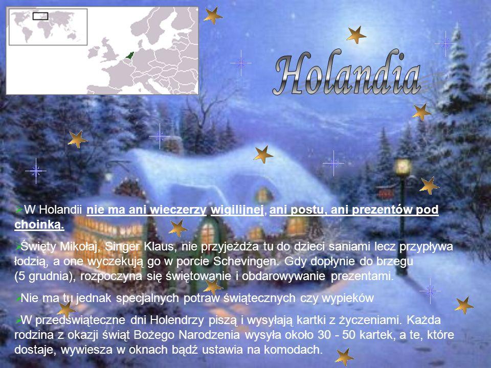 W Holandii nie ma ani wieczerzy wigilijnej, ani postu, ani prezentów pod choinką. Święty Mikołaj, Singer Klaus, nie przyjeżdża tu do dzieci saniami le