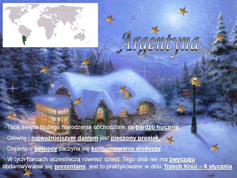Tutaj święta Bożego Narodzenia obchodzone są bardzo hucznie. Główny i najważniejszym daniem jest pieczony prosiak. Dopiero o północy zaczyna się konsu