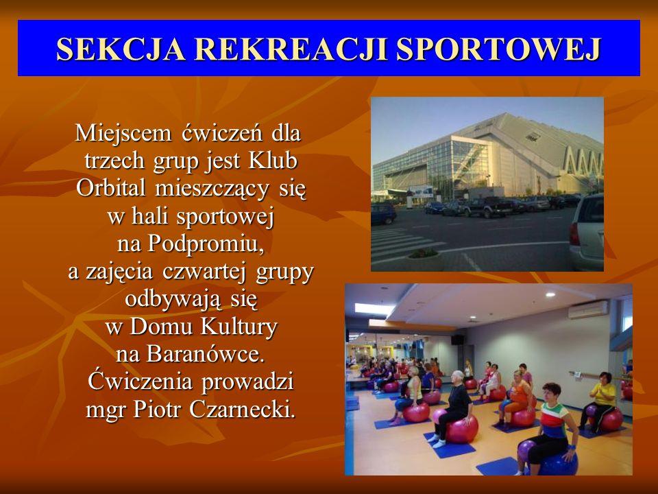 SEKCJA REKREACJI SPORTOWEJ Miejscem ćwiczeń dla trzech grup jest Klub Orbital mieszczący się w hali sportowej na Podpromiu, a zajęcia czwartej grupy o