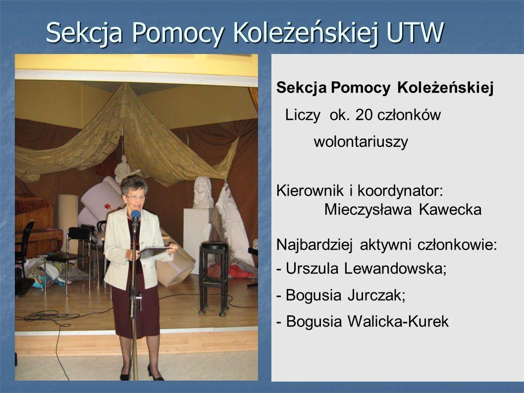 Sekcja Pomocy Koleżeńskiej Liczy ok. 20 członków wolontariuszy Kierownik i koordynator: Mieczysława Kawecka Najbardziej aktywni członkowie: - Urszula
