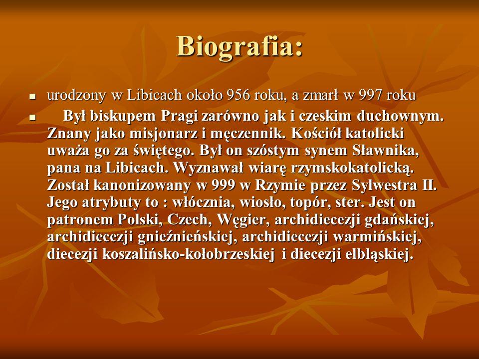 Biografia: urodzony w Libicach około 956 roku, a zmarł w 997 roku urodzony w Libicach około 956 roku, a zmarł w 997 roku Był biskupem Pragi zarówno ja