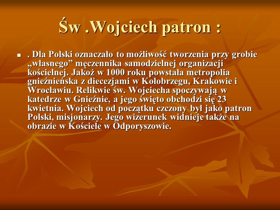 Św.Wojciech patron :. Dla Polski oznaczało to możliwość tworzenia przy grobie własnego męczennika samodzielnej organizacji kościelnej. Jakoż w 1000 ro