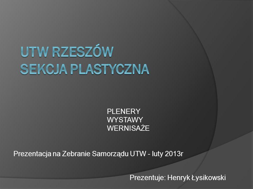 PLENERY WYSTAWY WERNISAŻE Prezentacja na Zebranie Samorządu UTW - luty 2013r Prezentuje: Henryk Łysikowski
