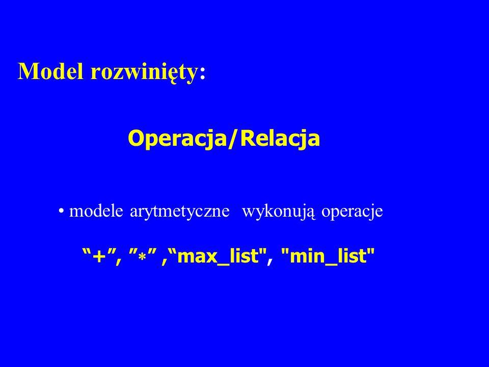 Model rozwinięty: Operacja/Relacja modele arytmetyczne wykonują operacje +,,max_list