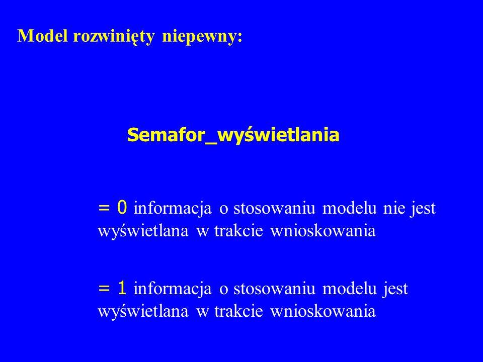 Model rozwinięty niepewny: Semafor_wyświetlania = 0 informacja o stosowaniu modelu nie jest wyświetlana w trakcie wnioskowania = 1 informacja o stosow