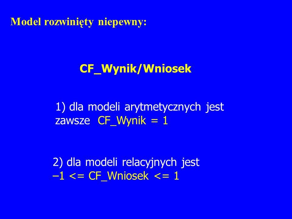 Model rozwinięty niepewny: CF_Wynik/Wniosek 1) dla modeli arytmetycznych jest zawsze CF_Wynik = 1 2) dla modeli relacyjnych jest –1 <= CF_Wniosek <= 1