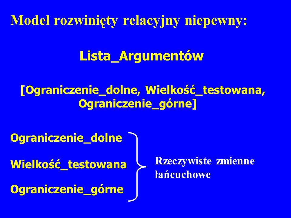 Model rozwinięty relacyjny niepewny: Lista_Argumentów [Ograniczenie_dolne, Wielkość_testowana, Ograniczenie_górne] Rzeczywiste zmienne łańcuchowe Ogra