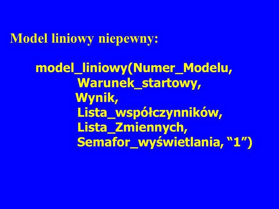 Model liniowy niepewny: model_liniowy(Numer_Modelu, Warunek_startowy, Wynik, Lista_współczynników, Lista_Zmiennych, Semafor_wyświetlania, 1)